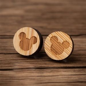 NEW Wooden Vintage Mickey Mouse Stud Earrings